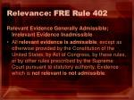 relevance fre rule 402