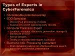 types of experts in cyberforensics