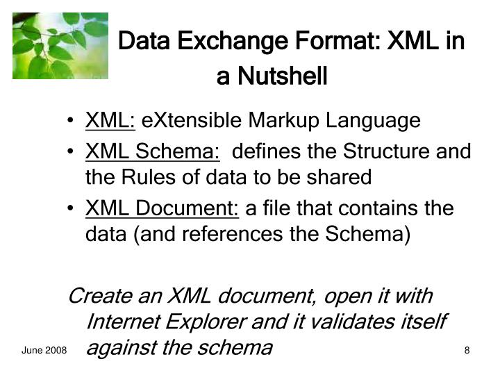 Data Exchange Format: XML in a Nutshell