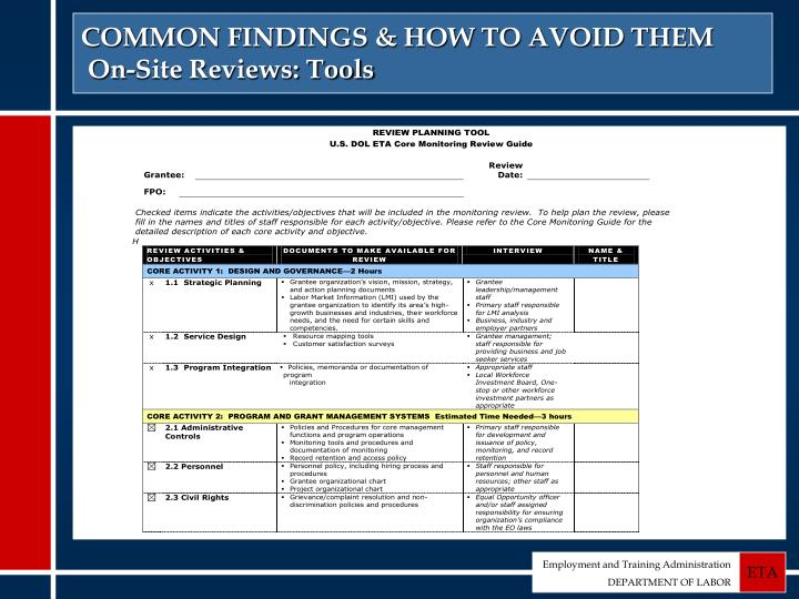 COMMON FINDINGS & HOW TO AVOID THEM