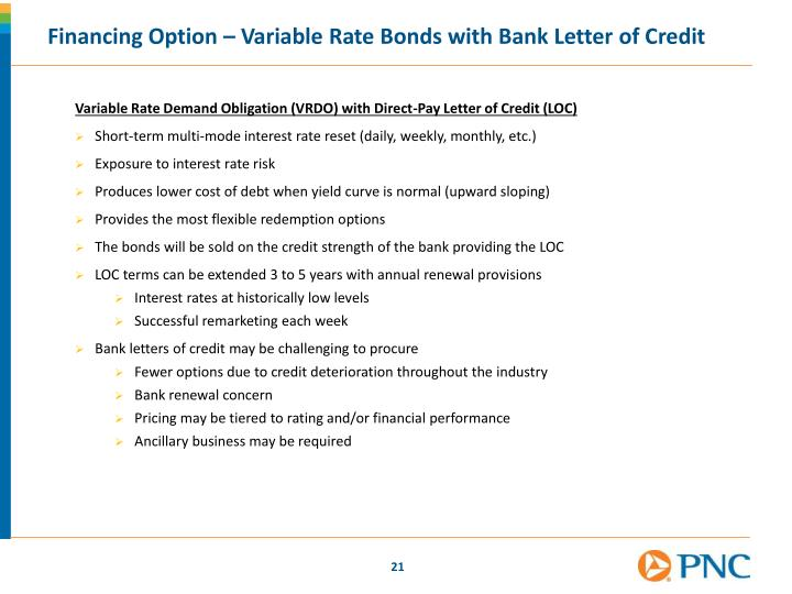 Financing Option – Variable Rate Bonds with Bank Letter of Credit