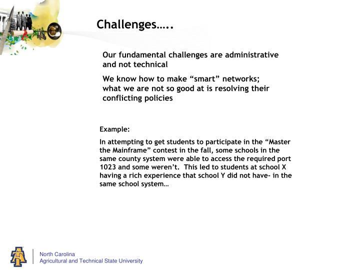 Challenges…..