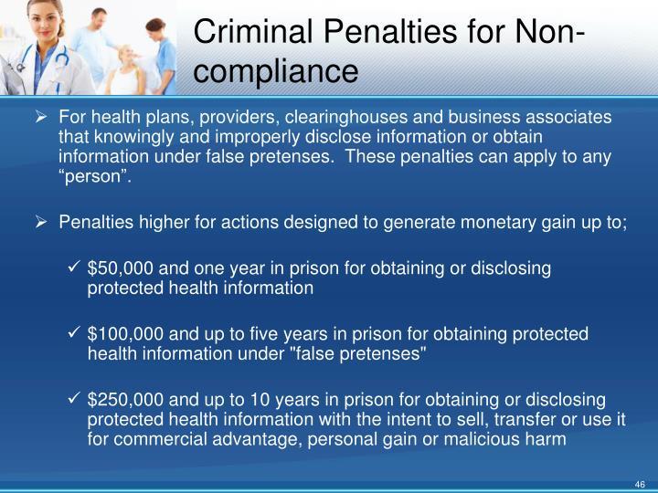 Criminal Penalties for Non-compliance