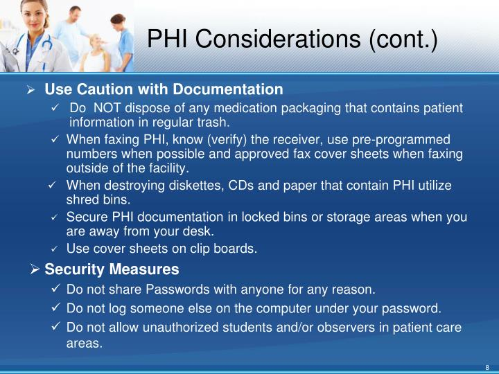 PHI Considerations (cont.)