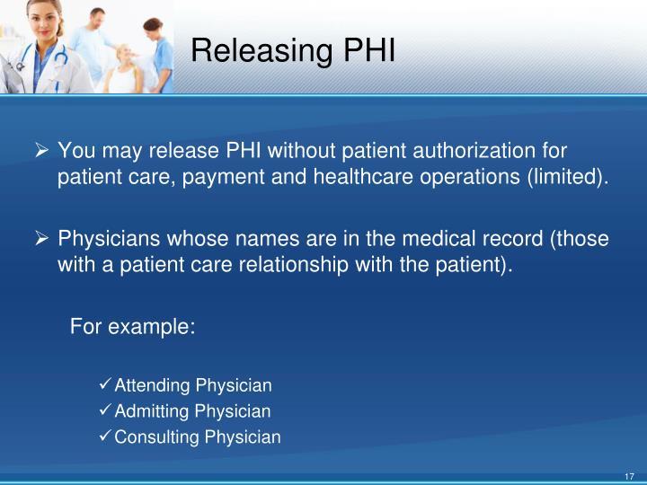 Releasing PHI
