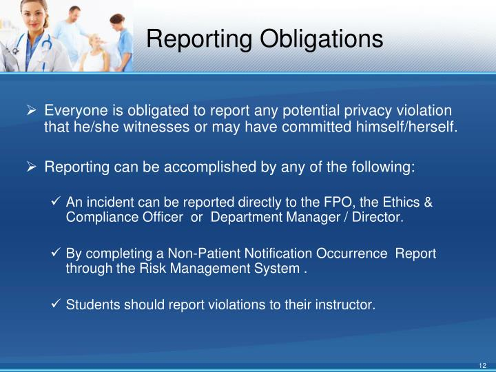 Reporting Obligations