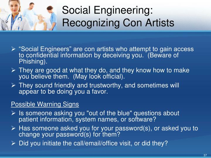 Social Engineering: Recognizing Con Artists