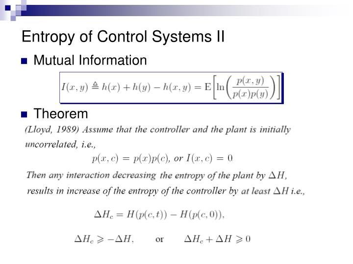 Entropy of Control Systems II