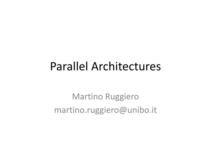 parallel architectures n.