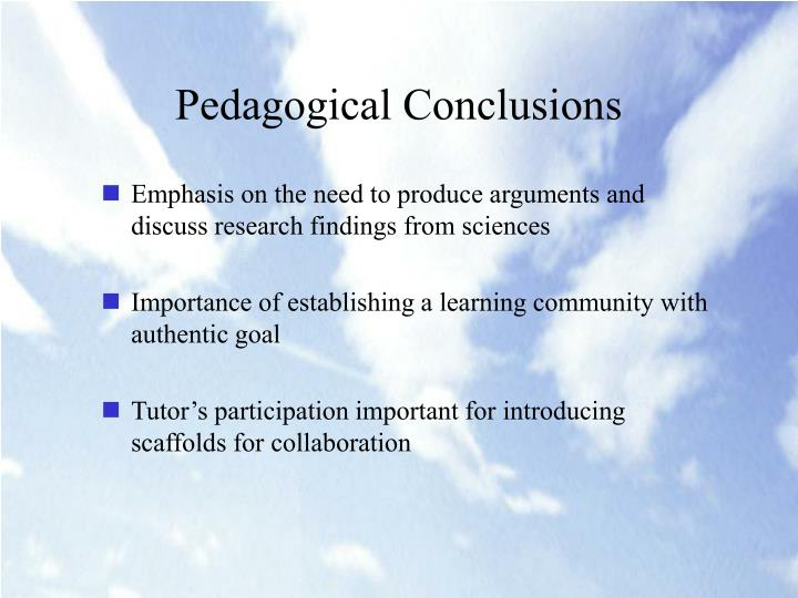 Pedagogical Conclusions