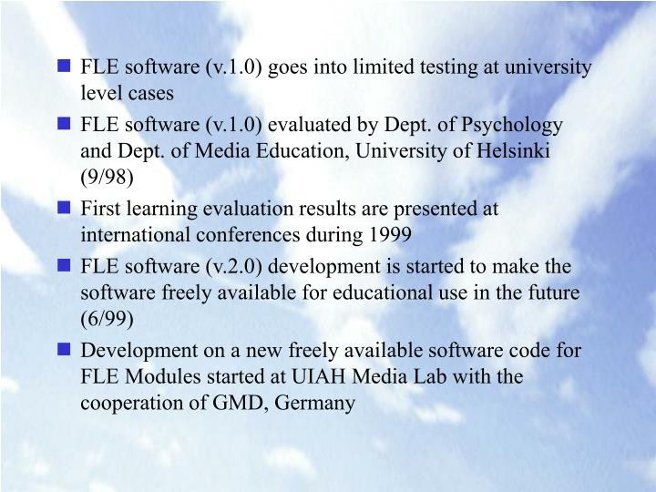 FLE software (v.1.0) goes into limited testing at university level cases