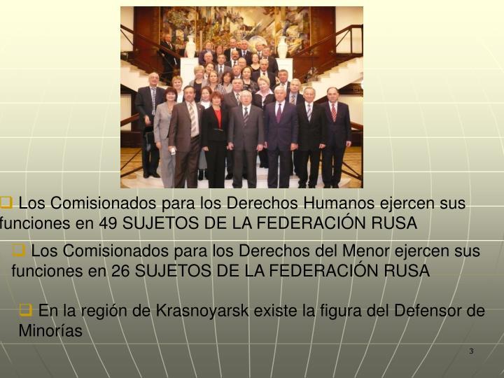Los Comisionados para los Derechos Humanos ejercen sus funciones en 49 SUJETOS DE LA FEDERACIÓN RUS...