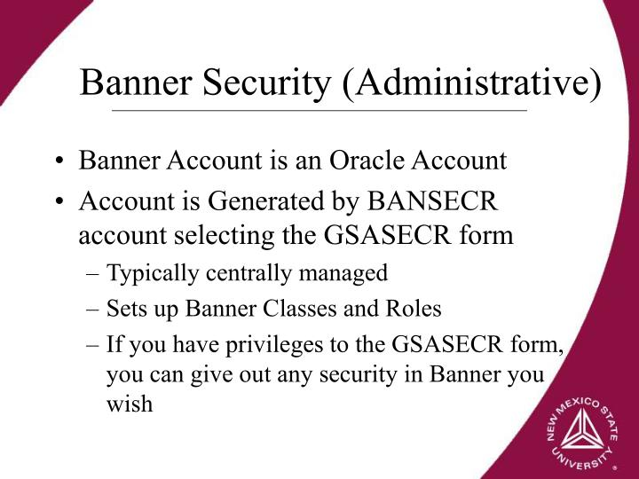 Banner Security (Administrative)