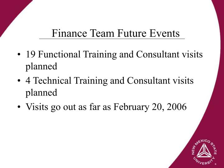 Finance Team Future Events