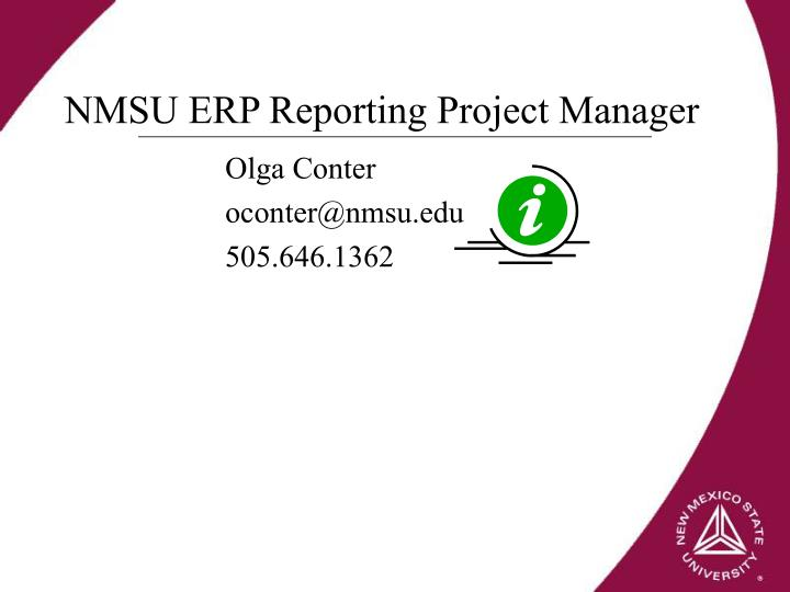 NMSU ERP Reporting Project Manager