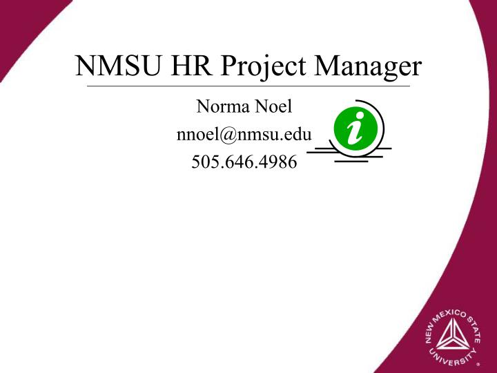 NMSU HR Project Manager