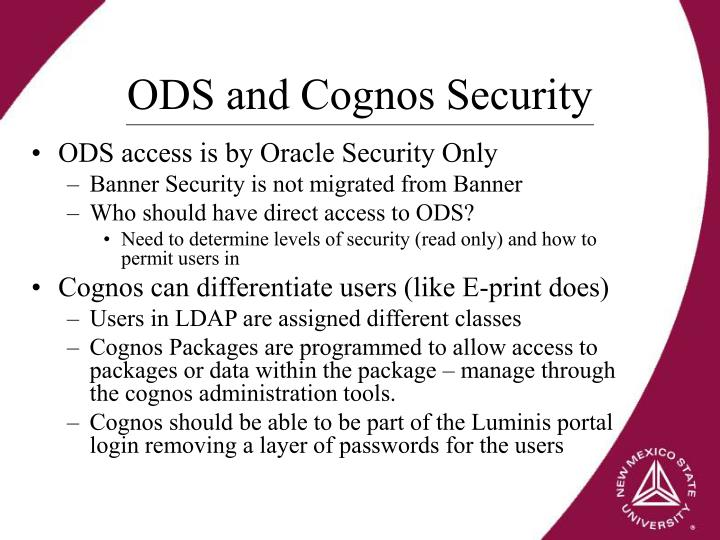 ODS and Cognos Security