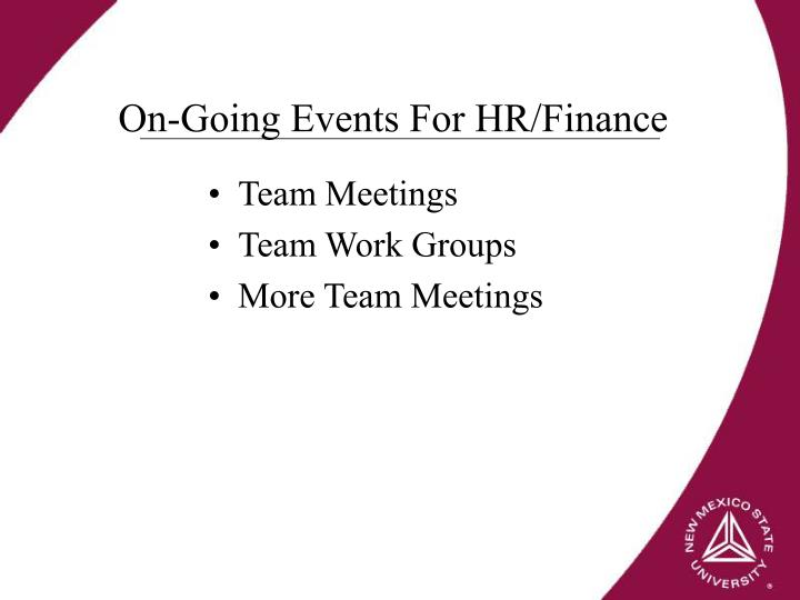 On-Going Events For HR/Finance