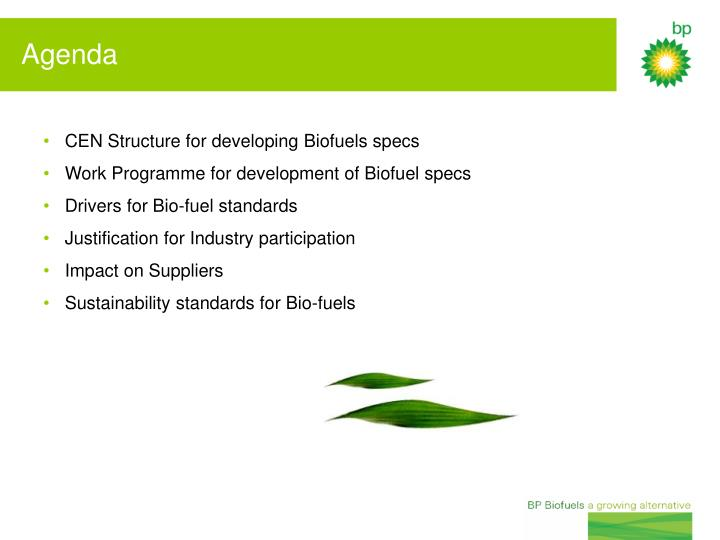 CEN Structure for developing Biofuels specs