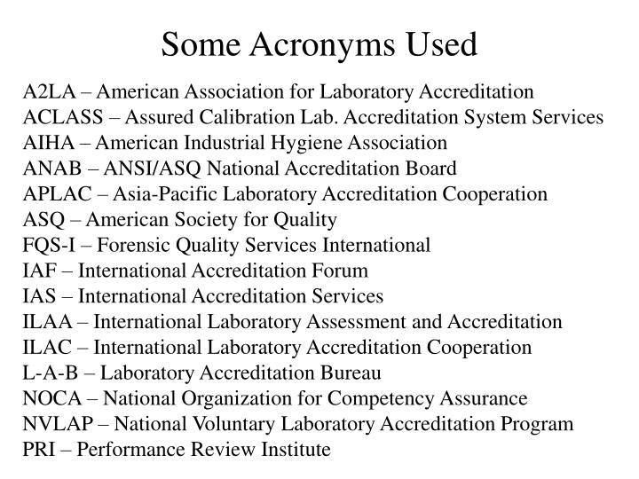 Some Acronyms Used