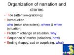 organization of narration and stories