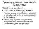 speaking activities in the materials grant 1988