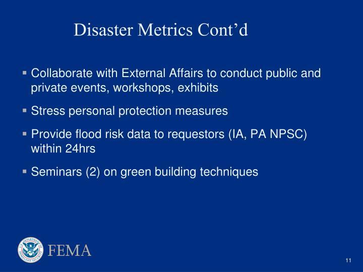 Disaster Metrics Cont'd