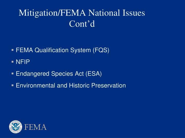 Mitigation fema national issues cont d