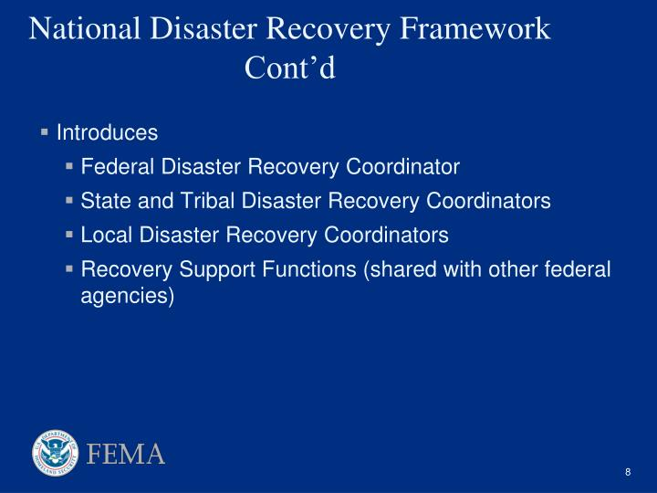 National Disaster Recovery Framework Cont'd