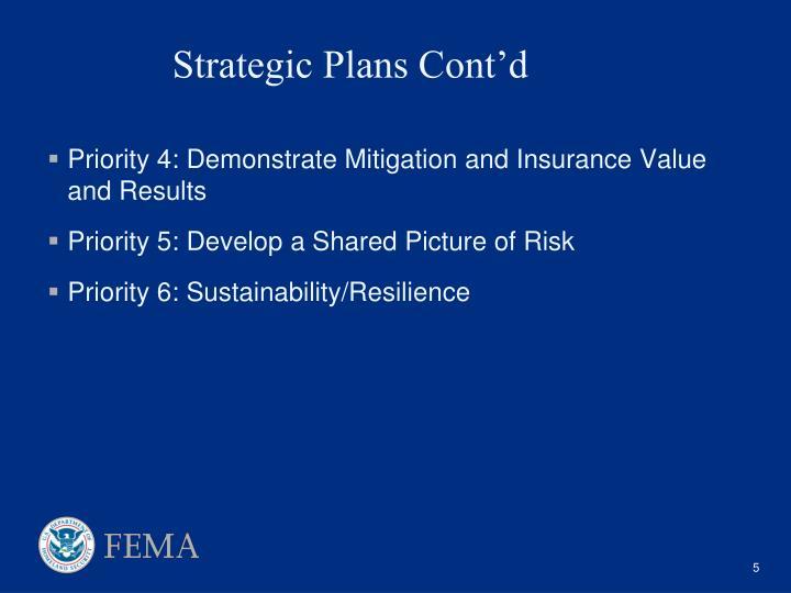 Strategic Plans Cont'd