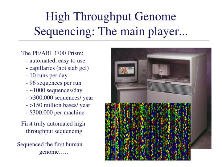 High Throughput Genome Sequencing: The main player...