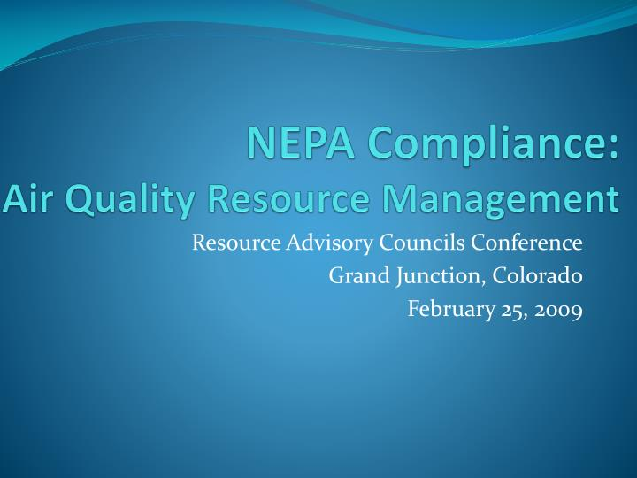 nepa compliance air quality resource management