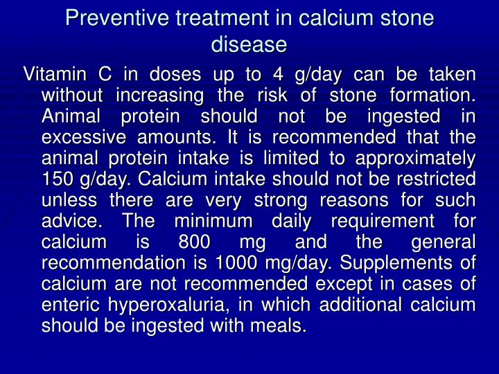 Preventive treatment in calcium stone disease