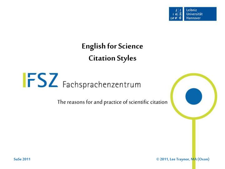 Ppt English For Science Citation Styles Powerpoint Presentation