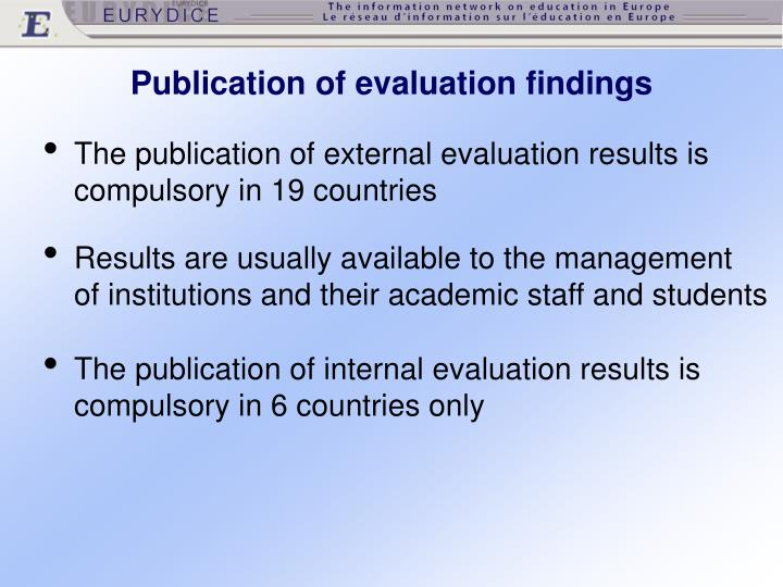Publication of evaluation findings