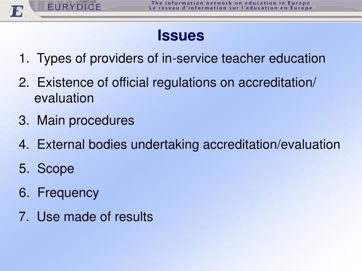 1.  Types of providers of in-service teacher education