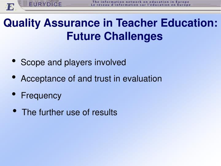 Quality Assurance in Teacher Education: