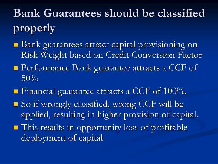 Bank Guarantees should be classified properly