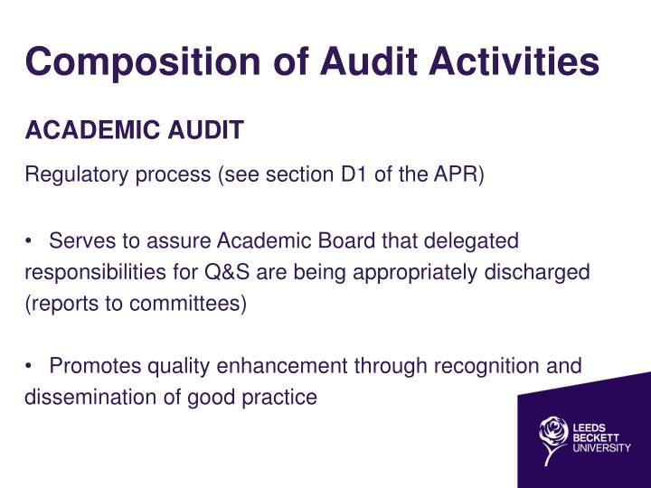 Composition of audit activities