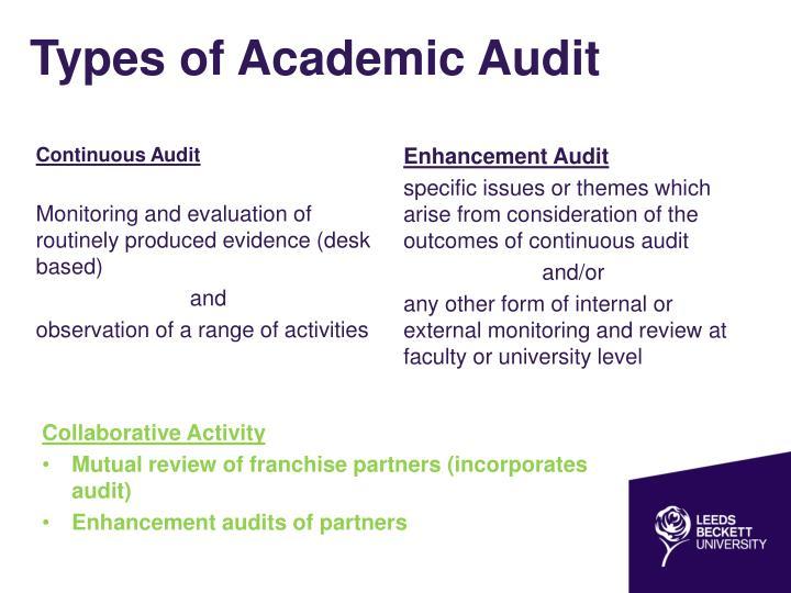 Types of academic audit