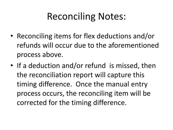Reconciling Notes: