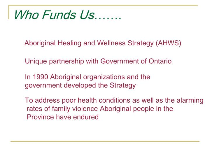 Who Funds Us…….