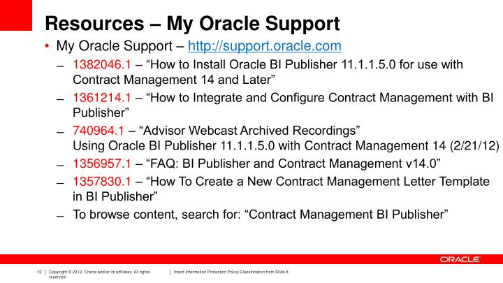 Resources – My Oracle Support