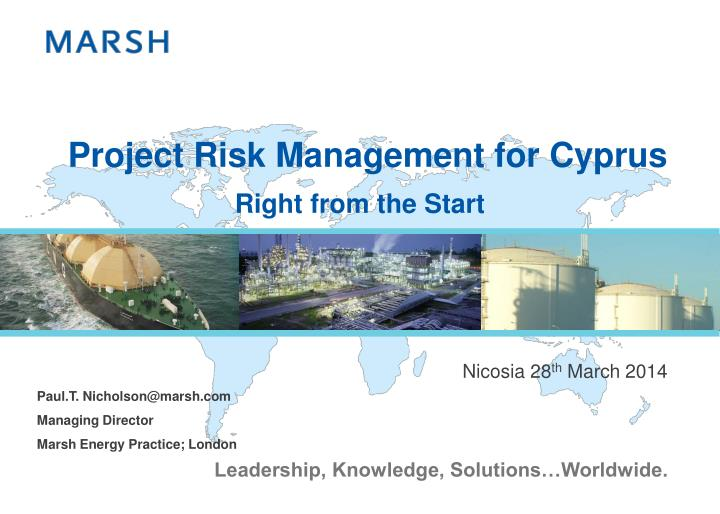 Project risk management for cyprus
