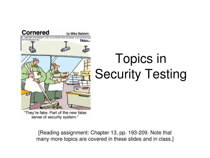 topics in security testing n.