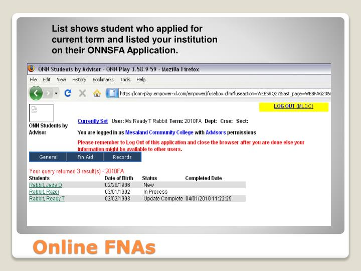 List shows student who applied for