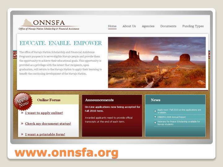 Www onnsfa org