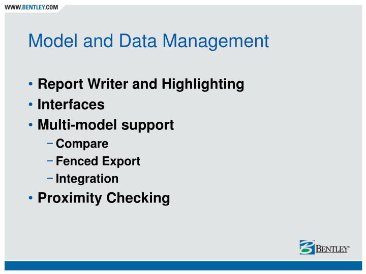 Model and Data Management