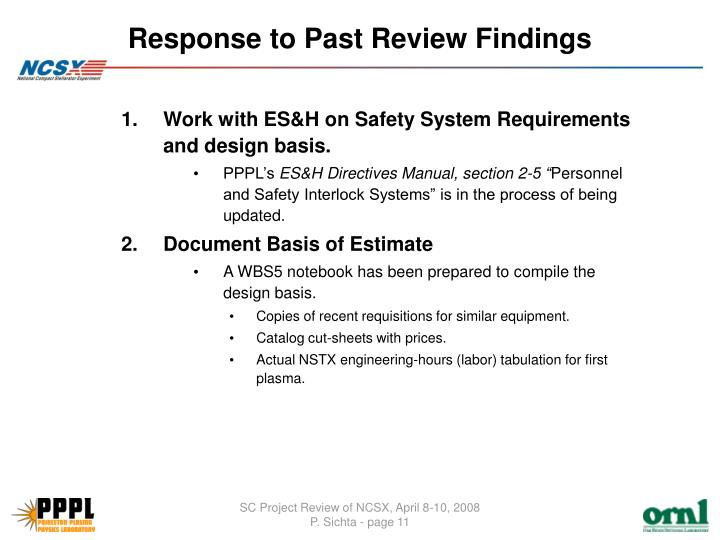 Response to Past Review Findings
