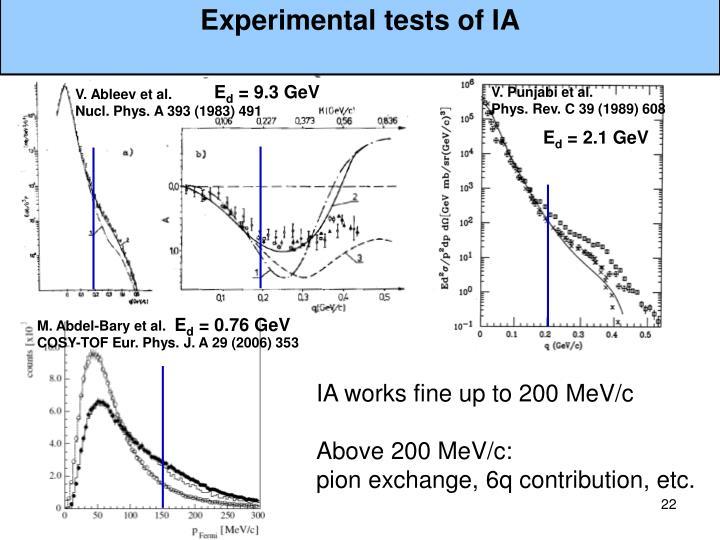 Experimental tests of IA